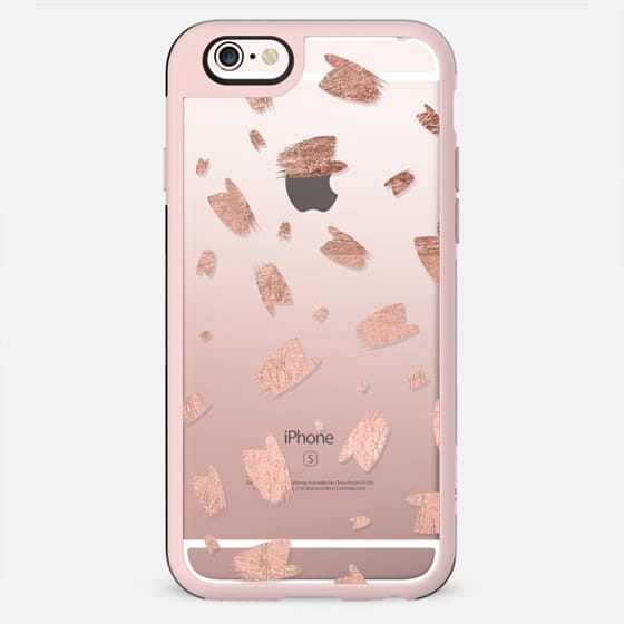 Modern faux rose gold foil brushstrokes paint pattern by Girly Trend - New Standard Case