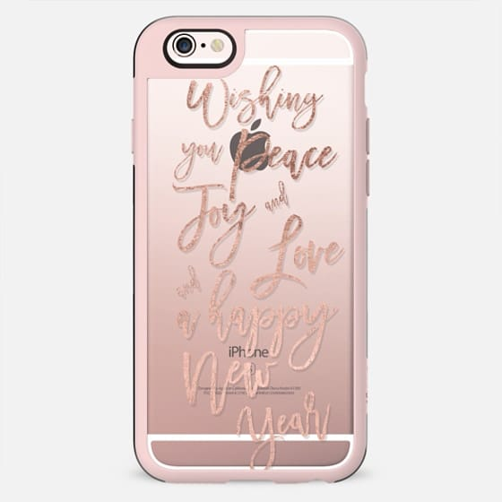 New Year typography quote love joy and peace in rose gold  by Girly Trend - New Standard Case