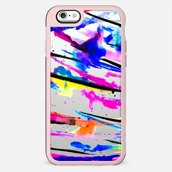Modern bright abstract pink black multicolor watercolor brushstrokes transparent by Girly Trend