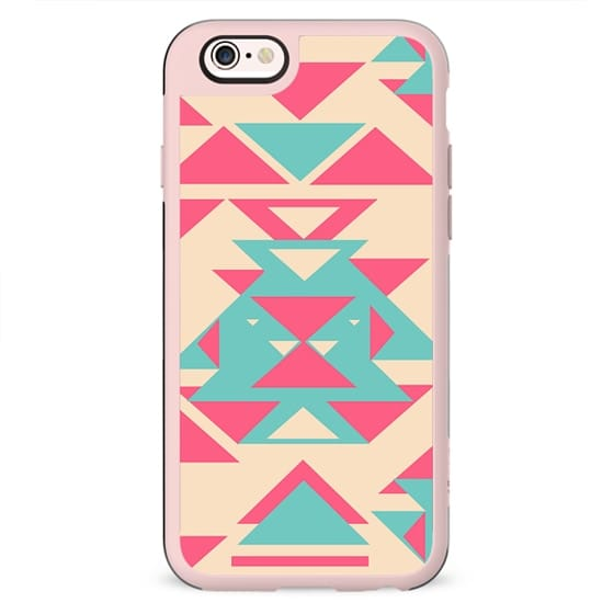 Girly Pink Turquoise Abstract Diamond Triangles