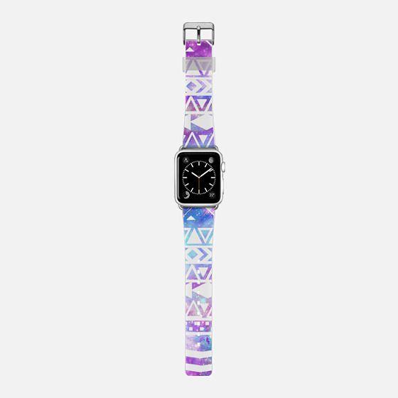 White aztec pattern on glitter nebula Apple watch -