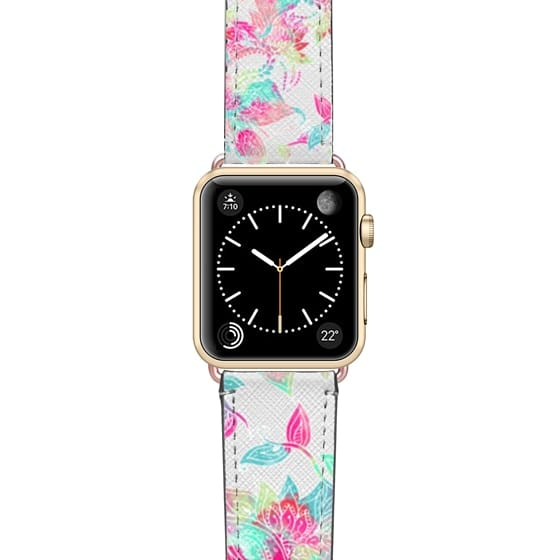 Apple Watch 38mm Bands - Pastel watercolor girly hand drawn floral pattern by Girly Trend