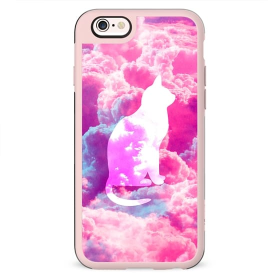 Girly Cute Cat Vector Bright Pink Clouds Space