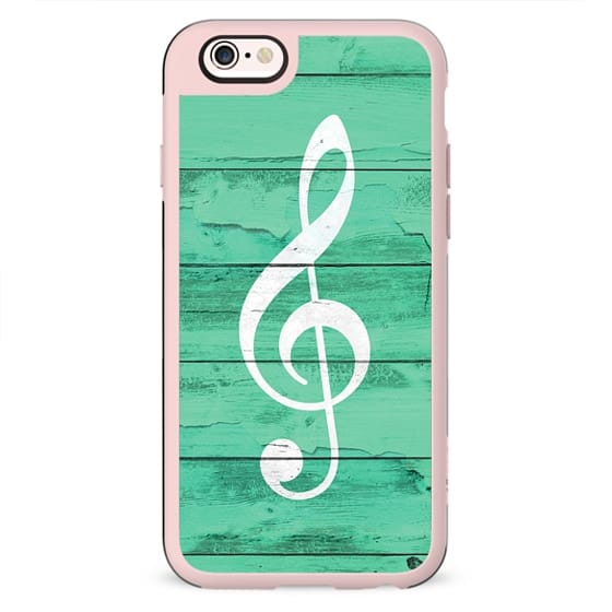 Hipster White Music Note Girly Turquoise Wood