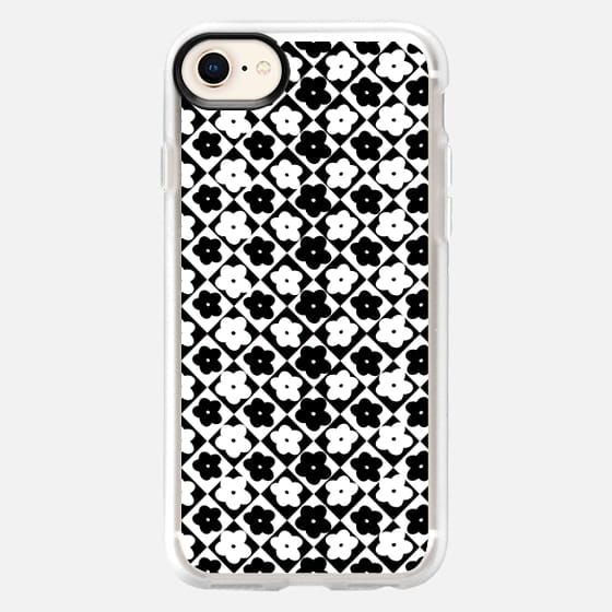Cute Monochrome Flowers Diamond Geometric Pattern