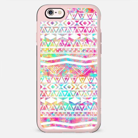 White Tribal Abstract Aztec Neon Rainbow Splatters -