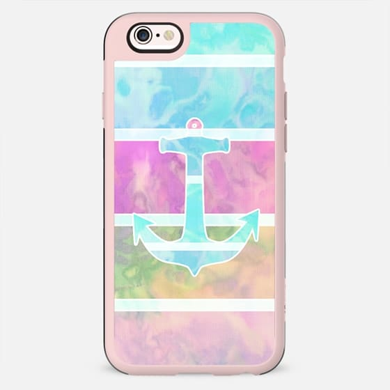 Watercolor Teal Nautical Anchor Pastel Stripes