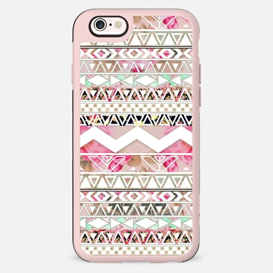 Girly Pink White Floral Abstract Aztec Pattern by Girly Trend -