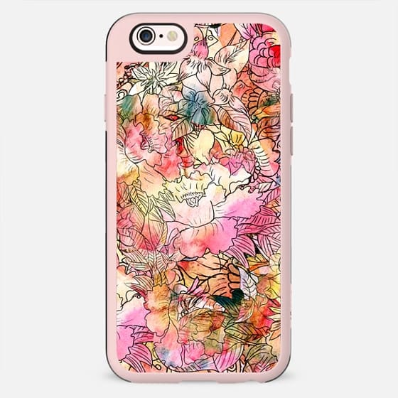 Colorful Watercolor Floral Pattern Abstract Sketch -
