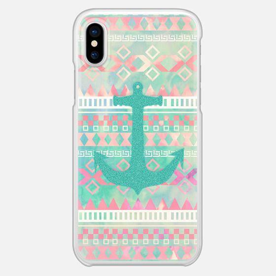 Emerald Nautical Anchor Pastel Watercolor Aztec - Snap Case