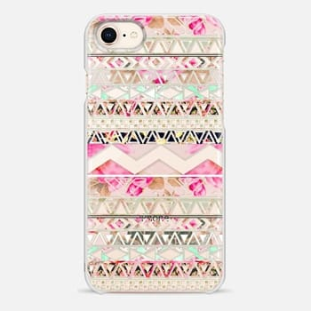 iPhone 8 Case Pink floral aztec pattern transparent by Girly Trend