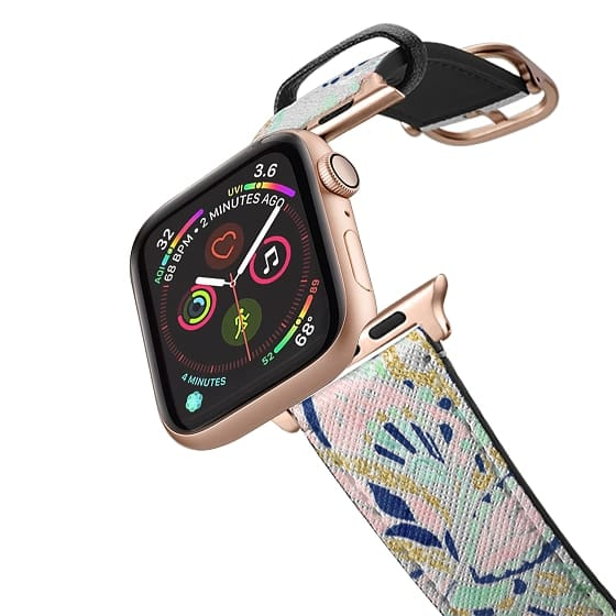 Apple Watch 38mm Bands - Modern pastel pink watercolor gold floral paisley by Girly Trend