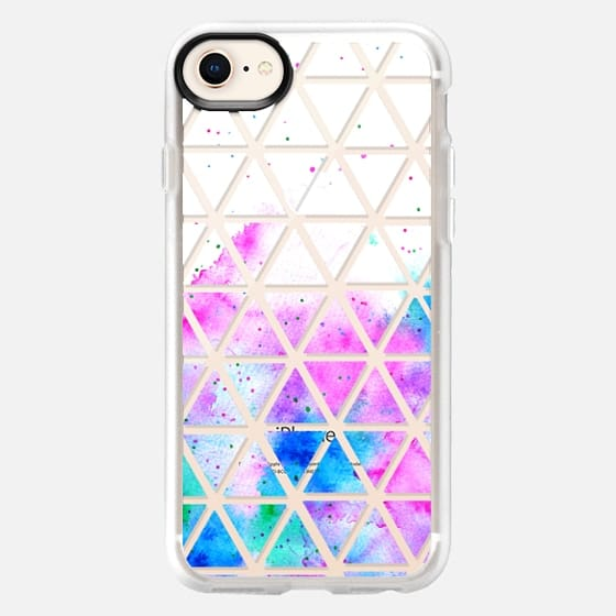 Modern pink blue hand painted watercolor white geometric triangles pattern by Girly Trend