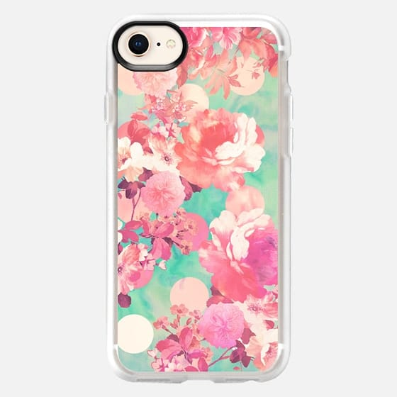 Romantic Pink Retro Floral Pattern Teal Polka Dots - Classic Grip Case