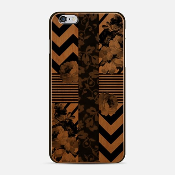 Trendy Black and White Floral Lace Stripes Chevron - New Standard Case