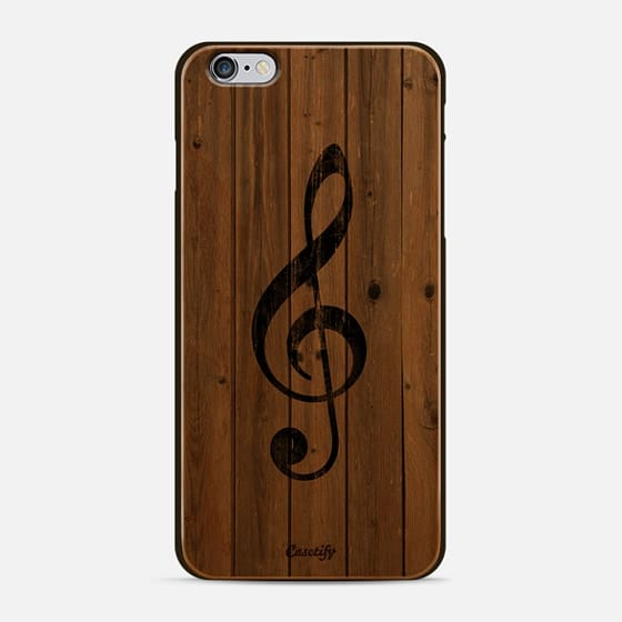 Vintage White Music Note Treble Clef Gray Wood - New Standard Case