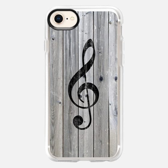 Vintage White Music Note Treble Clef Gray Wood - Snap Case