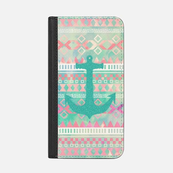 Emerald Nautical Anchor Pastel Watercolor Aztec