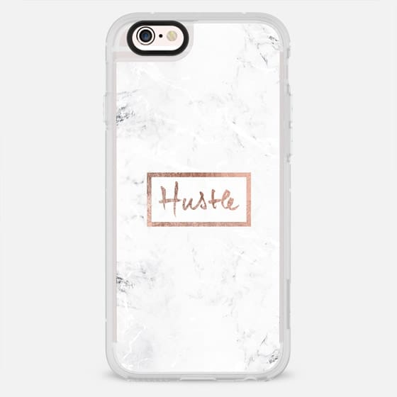 Modern rose gold Hustle typography white marble - New Standard Case