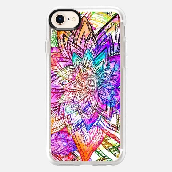 Colorful Vintage Floral Pattern Drawing Watercolor - Classic Grip Case