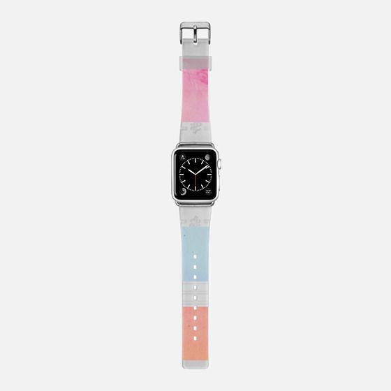 Pink purple blue watercolor stripes pattern Apple watch - Saffiano Leather Watch Band