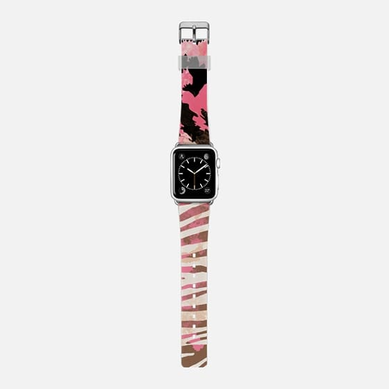 Pink brown leopard zebra watercolor pattern Apple watch -