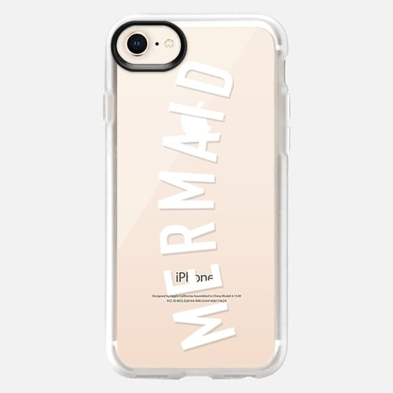 Simple mermaid typography white quote by Girly Trend - Classic Grip Case