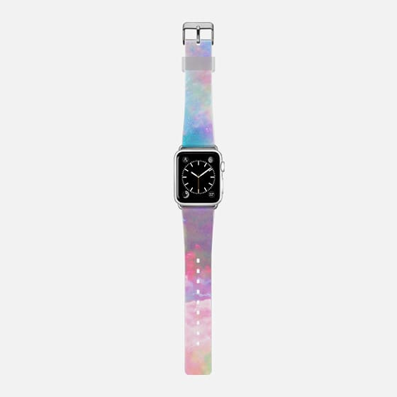Pink clouds and pink nebula space Apple watch - Saffiano Leather Watch Band