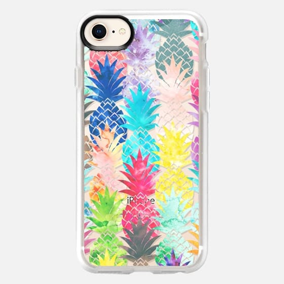 Modern bright watercolor pineapples pattern transparent  - Snap Case