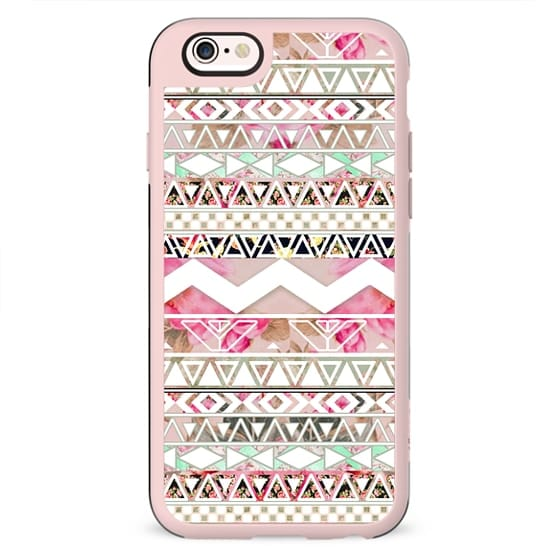 Girly Pink White Floral Abstract Aztec Pattern by Girly Trend