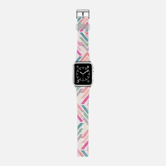 Watercolor  pink coral turquoise aztec arrows pattern watch - Saffiano Leather Watch Band