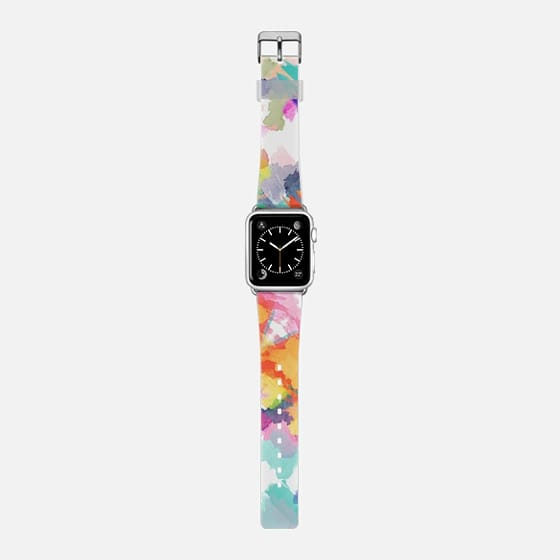 Abstract orange floral watercolor Apple watch - Saffiano Leather Watch Band