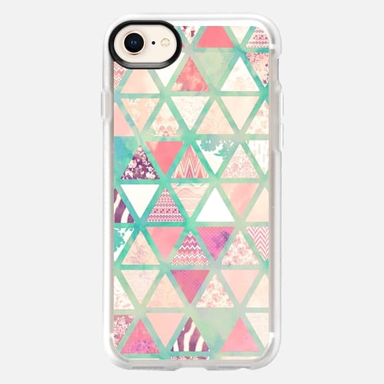 Pink Turquoise Abstract Floral Triangles Patchwork - Classic Grip Case