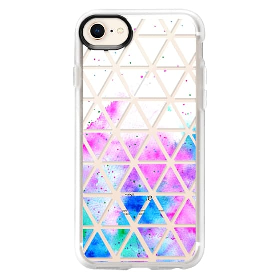 iPhone 8 Cases - Modern pink blue hand painted watercolor white geometric triangles pattern by Girly Trend