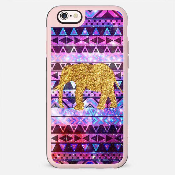 Gold Elephant Pink Nebula Space Aztec Pattern