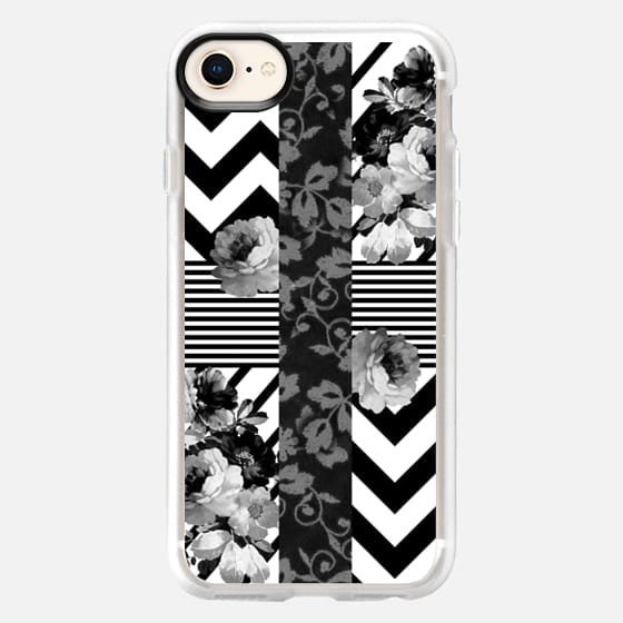 Trendy Black and White Floral Lace Stripes Chevron