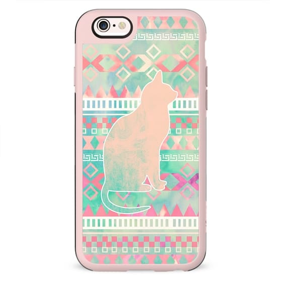 Whimsical Cat Pink Turquoise Girly Aztec Pattern
