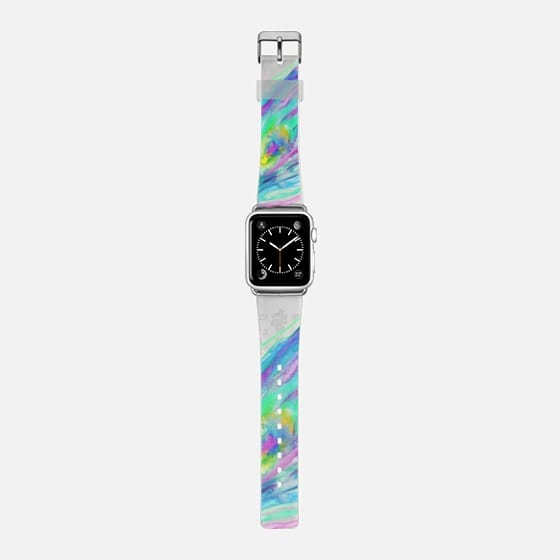 Painted bright watercolor peacock feather transparent apple watch - Saffiano Leather Watch Band