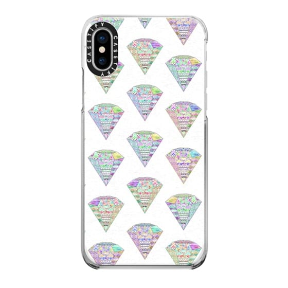 iPhone X Cases - Trendy Girly Pastel Pink Diamond Aztec Patterns