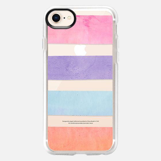Pastel Watercolor Stripes Summer Pink Orange Teal 2 - Classic Grip Case