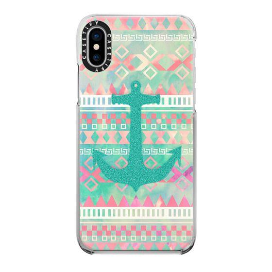 iPhone X Cases - Emerald Nautical Anchor Pastel Watercolor Aztec