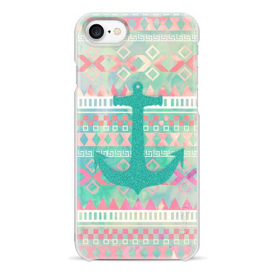 iPhone 7 Cases - Emerald Nautical Anchor Pastel Watercolor Aztec