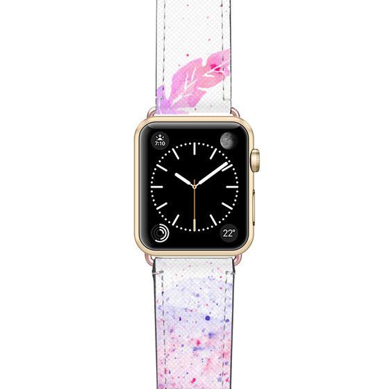Apple Watch 38mm Bands - Purple watercolor feathers paint splatters Apple watch
