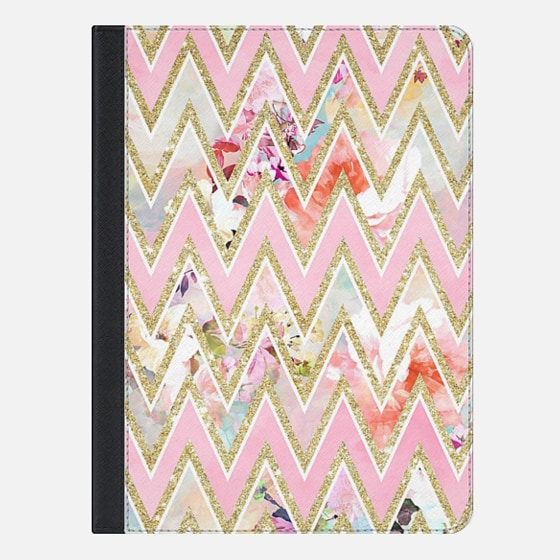 "iPad Pro 9.7"" Capa - Pastel watercolor floral pink gold chevron pattern by Girly Trend"