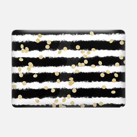 Macbook Air 13 Capa - Modern black watercolor stripes chic gold confetti