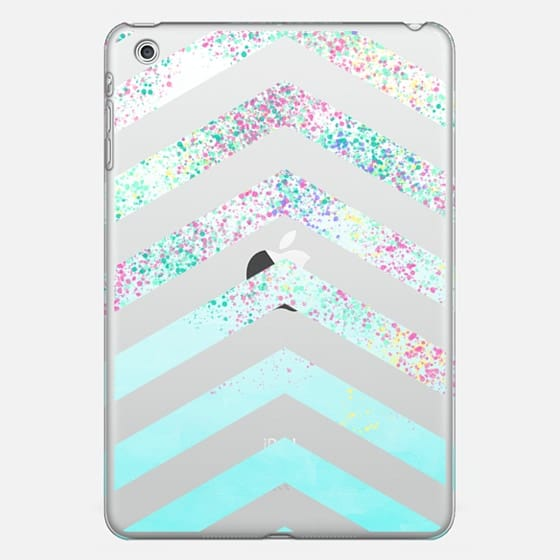 Modern pastel paint splatters teal ombre chevron pattern by Girly Trend - Photo Cover