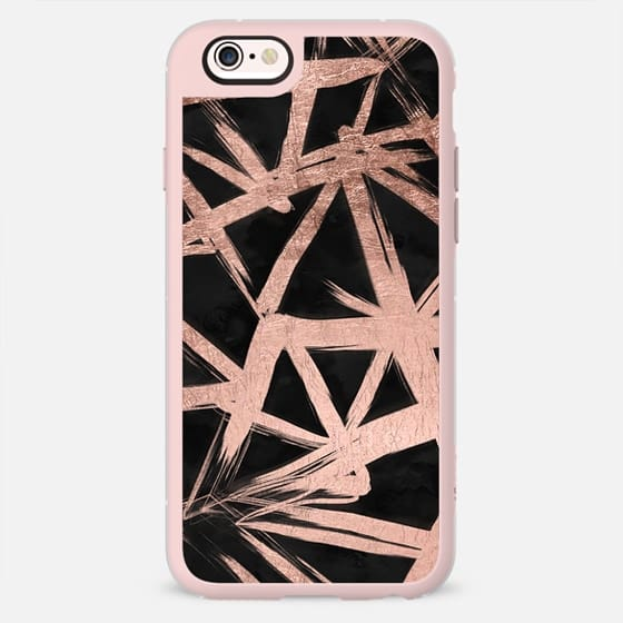 Modern abstract rose gold brushstrokes geometric triangles pattern on black watercolor by Girly Trend -