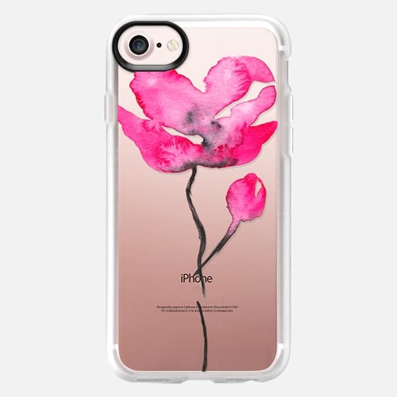 Modern black pink watercolor abstract hand painted flower by Girly Trend -
