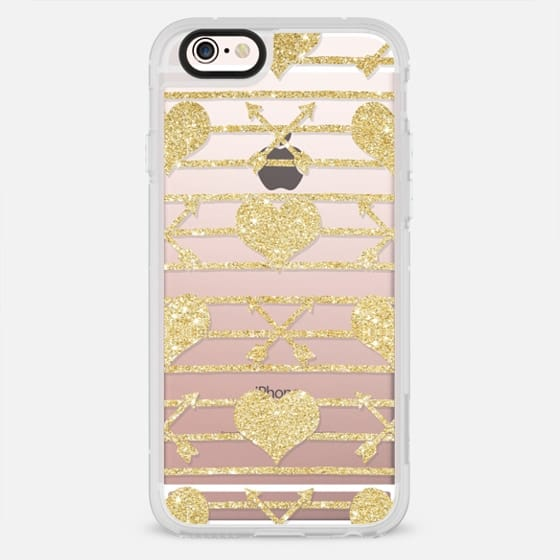 Modern love hearts and arrows gold glitter stripes pattern by Girly Trend - New Standard Case