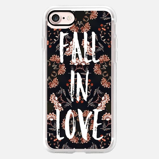 Modern fall in love typography autumn floral pattern by Girly Trend -